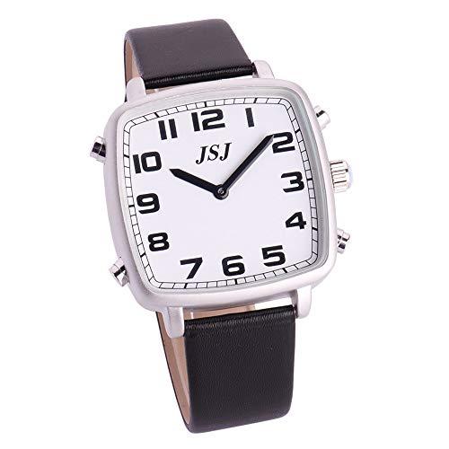 Reloj Parlante en Español, Reloj de Pulsera Cuadrado,Esfera Blanco, Negro Correa de Cuero TSSW-1804S