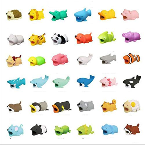 gregrr Bite Cable Protectors Animal 36pcs,USB Cable Protector Wire Animal Bite Charger Suitable for iPhone Android Protection