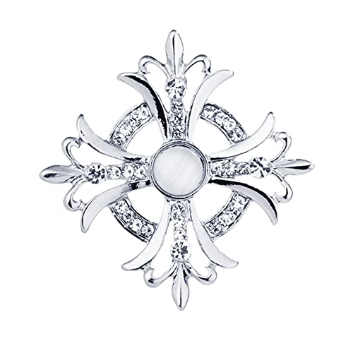 JJSCCMDZ Broche Retro Flor Cruzada Rhinestone Crystal Broche Pin Pin Badge Ropa Traje de los Hombres Accesorios Anclaje Opal Medalla Brooches para Hombres (Metal Color : Silver)