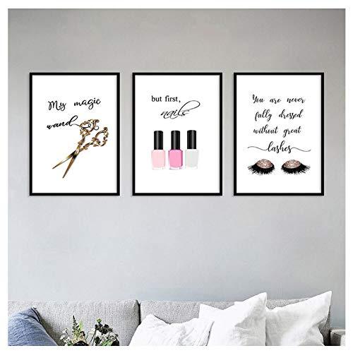 Schaar Nagellak Wimpers CanvasNordic Eenvoudige Modeposters Kapsalon Schoonheidssalon Wall Art-40x60cmx3 zonder lijst