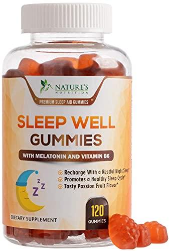 Sleep Support Melatonin Gummies Extra Strength Sleep Gummy - Natural Adult Sleeping Pills - Best Vegan Non Habit Forming Sleep & Stress Support Supplement - 120 Gummies