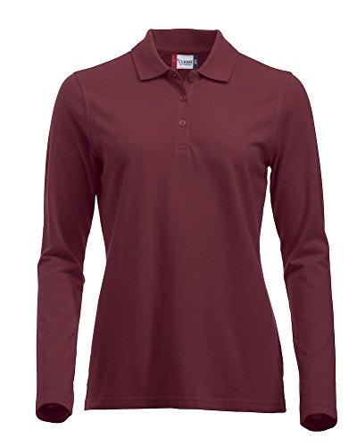 Mujeres clásico Polo de mangas largas de algodón camiseta Calce moderno, 11colores vibrantes, XS-2XL rojo granate Large