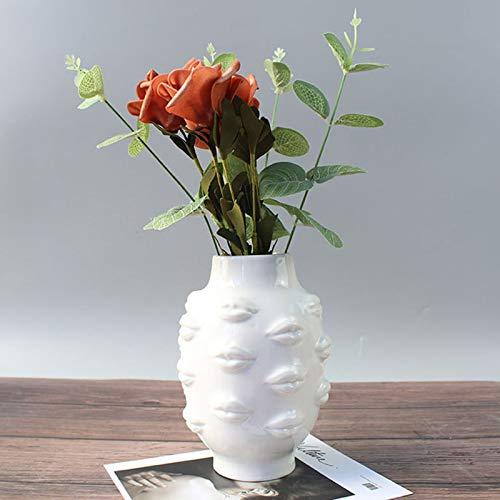 Owl's-Yard Blumen Vase, Chic Boho Moderne Blume Topf, Frauen Körper Keramik Vase Desktop Dekorative Handwerk kleine Akzent Stück für Home Office Wohnzimmer Indoor Pflanze Regal Dekor (Weiße Lippe)