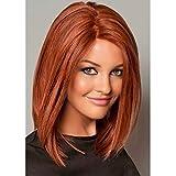 PORSMEER Peluca Corta Recto Jengibre Bob para Mujer, Natural Color Rojo Naranja Longitud del Hombro Brasileña Pelo lacio Completo Sintéticas Hecho a Máquina Pelucas para Cosplay Disfraz o Diariamente