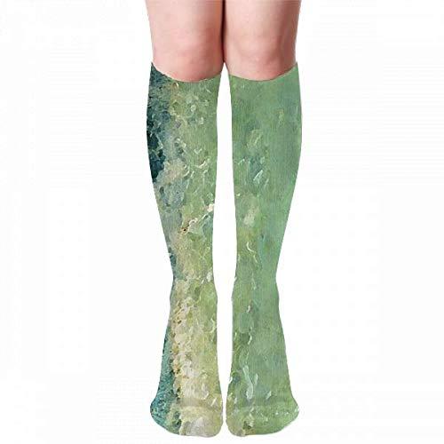 Medlin Calcetines de compresión con estampado de borde costero sereno, calcetines deportivos acogedores de 50 cm para hombres, mujeres y niños