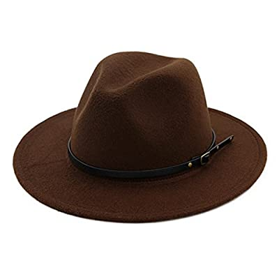 Lisianthus Women Belt Buckle Fedora Hat Coffee
