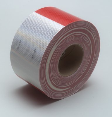 "Safe Way Traction 4"" X 10 Foot Roll of 3M 983 Series Diamond Grade Conspicuity Trailer DOT-C2 Reflective Safety Tape Red & White 6""/ 6"" Pattern 983-326-4"