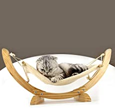 AMERTEER Luxury Cat Hammock - Large Soft Plush Bed - Holds Small to Medium Size Cat or Toy Dog Anti Sway Attractive & Sturdy Perch Easy to Assemble Wood Construction(beige)
