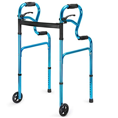 Health Line Massage Products 3 in 1 Stand-Assist Folding Walker with Trigger Release and 5 inch Wheels Supports up to 350 lbs, Compact Lightweight & Portable with Glides, Blue