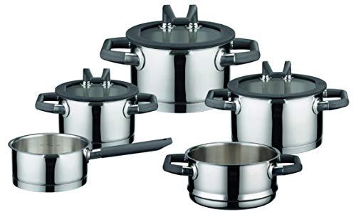 Elo Rondelo Juego de cacerolas de acero inoxidable con tapa de vidrio, sistema de dosificación y función de espera, utensilios de cocina para cocinas de inducción Ceran