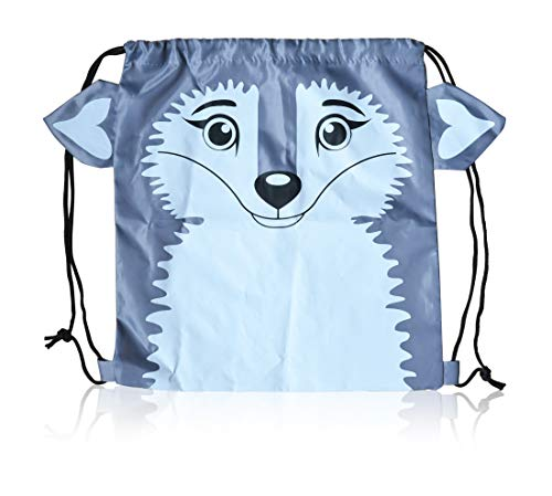 """BEST BOXES - Premium Wolf Sportpack Drawstring Backpack with 3D features School Book Bag Beach Sack Cute Designer Travel Carrying Tote Size 15"""" x 13-1/2"""""""