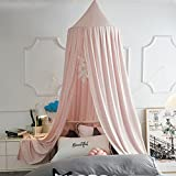 VARWANEO Princess Bed Canopy for Girls Kids Baby Bed, Prince Round Dome Kids Mosquito Net Canopies Indoor Outdoor Castle Play Tent Hanging House Decoration Reading Nook(Beige Pink)