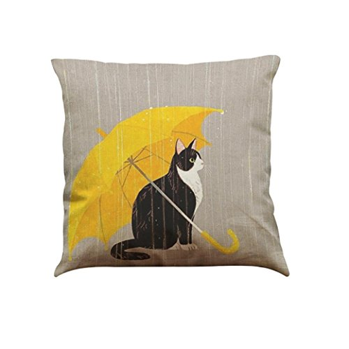 Indexp Cute Cat Pattern Printing Festival Throw Cushion Cover Sofa Home Decoration Pillow case (Style D)