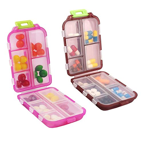 2 Pack Travel Pill Organizer, Portable Pill Case, Pill Box Dispenser, with 10 Compartments for Different Medicines for Purse Vitamin Fish Oil Compartments Container Medicine Box (Light Red+Dark red)