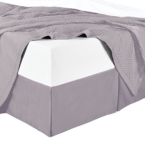 sheetsnthings Microfiber Bed Skirts (14 inch Drop) -Full Size, Solid Lilac- Pleated Tailored Bedskirts with Split Corners