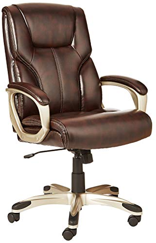 Amazon Basics High-Back Executive, Swivel, Adjustable Office Desk Chair with Casters, Brown Bonded Leather