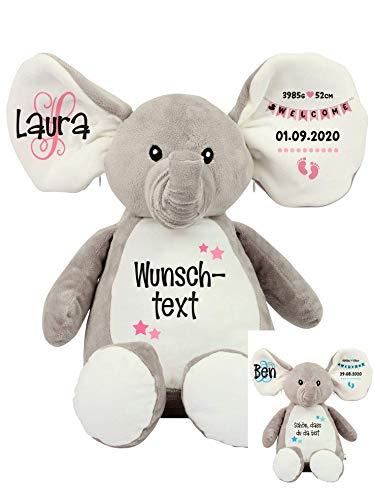 Elefant Baby-Geschenk Kuscheltier Geschenkidee zur Geburt & Taufe personalisiert mit Namen Geburtsdaten Taufspruch