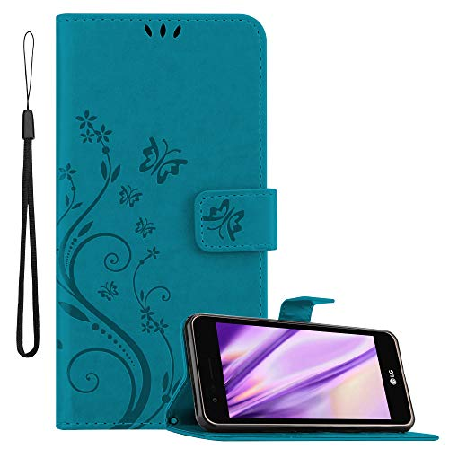Cadorabo Custodia Libro per LG K4 2017 EU in Blu Fiore – in Design di Fiore con Chiusura Magnetica, Funzione Stand e 3 Vani di Carte - Portafoglio Cover Case Wallet Book Etui Protezione