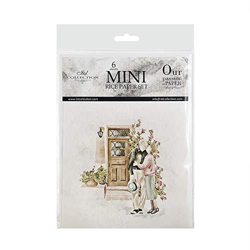 ITD Collection - Mini carta di riso creativa, 14,8 x 14,8 cm, 6 fogli, carta di riso per scrapbooking, fai da te, multicolore (RSM030)