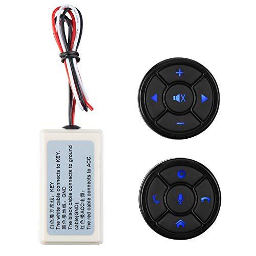 MEROURII Controlador Remoto inalámbrico del Volante del Reproductor de navegación con Interruptor de Volumen ,para Llamadas Manos Libres/música/Video (con batería)