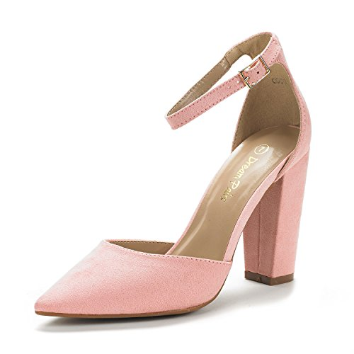 DREAM PAIRS Women's Coco Pink Suede Mid Heel Pump Shoes - 5 M US