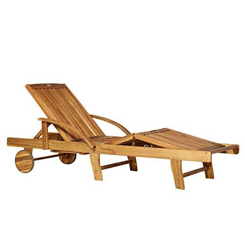 Outsunny Gartenliege Sonnenliege Liegestuhl Gartenmöbel klappbar verstellbar Akazienholz Natur 195 x 70 x (66–85) cm