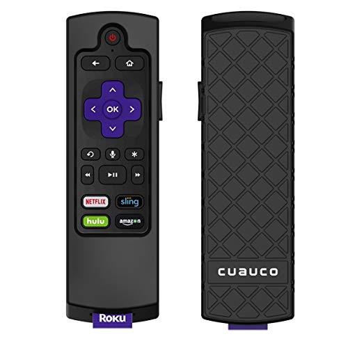 Cuauco Case for Roku Express 3900/ Express+3910/Roku Streaming Stick 3800/Roku Streaming Stick+ 3810,Protective Silicone [Anti Slip] Shock Proof Remote Controller Case (Model Year 2019,2020) (Black)