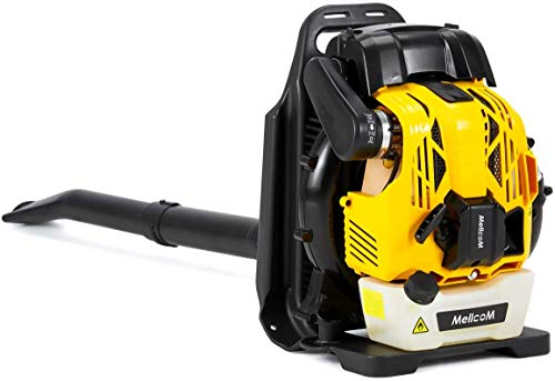 MELLCOM 76cc, 4-Stroke Engine Gas Powered Backpack Leaf Blower, Adjust The Switch Freely, High Efficiency, Low Fuel Consumption, Low Pollution 750CFM