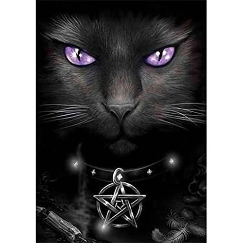 Diamante Pintura 5D diy por número Kit, Square Drill Animal gato negro 60x100cm diamante arte completo taladro de cristal bordado punto de cruz cuadros arte arte arte decoración de la pared del hogar