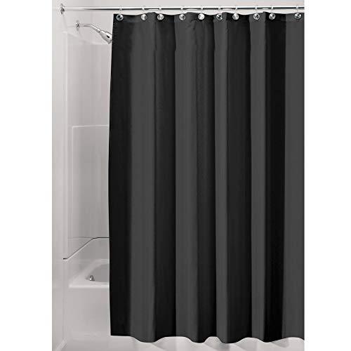 iDesign Duschvorhang aus Stoff, waschbarer Badewannenvorhang aus Polyester in der Größe 180,0 cm x 200,0 cm, wasserdichter Vorhang mit verstärktem Saum, schwarz