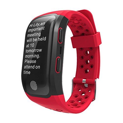 BTPDIAN Pulsera Inteligente Reloj Deportivo GPS natación Impermeable monitorización de frecuencia cardíaca Hombres y Mujeres (Color : Red)
