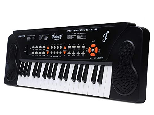 JUAREZ Octavé JRK370 37-Key Portable Electronic Keyboard Piano   8 Rhythms   8 Timbres   8 Demos 4 Percussions   4 Animal Voices   Adapter   Key Note Stickers