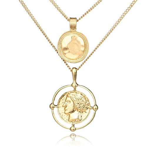 XIGAWAY Colgante de oro con diseño de moneda de reina y cabeza de reina