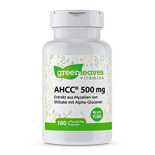 Greenleaves Vitamins - AHCC Vorteilspackung mit 180 vegetarische Kapseln 500 mg. Hochdosiert. Extrakt aus Shiitake. Das Original produkt!!