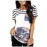 Damen T-Shirt Sommer Kurzarm Oberteile Lässige Camouflage Streifen Spleißung Tshirt Short Sleeve...
