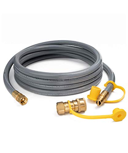 GASPRO 12FT Natural Gas Hose 3/8 Inch Propane/Natural Gas Quick Disconnect Kit for Grill, Griddle, Fire Pit,Generator, Heater and More NG/Propane Appliance,CSA