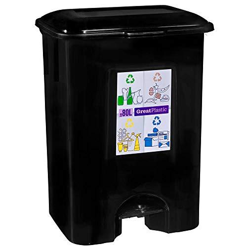 TODO HOGAR Cubo de Basura con Pedal 80 litros en Color Negro