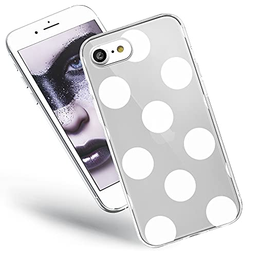 QULT Handyhülle kompatibel mit iPhone SE 2020, iPhone 7/8 Hülle Silikon Motiv transparent dünn durchsichtig Bumper Schutzhülle Hülle große weiße Punkte