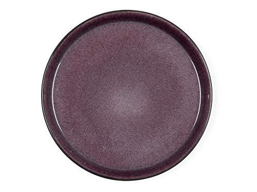 BITZ Teller, Speiseteller, Essteller aus Steinzeug, 27 cm im Durchmesser, schwarz/lila