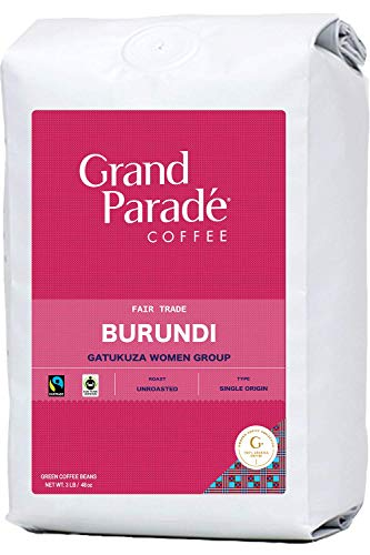 Grand Parade Coffee, 3 LB Unroasted Green Coffee Beans - Burundi Women Produced Single Origin - High Altitude Bourbon Variety - Fair Trade - Fresh Raw Coffee - 3 Pound Bag
