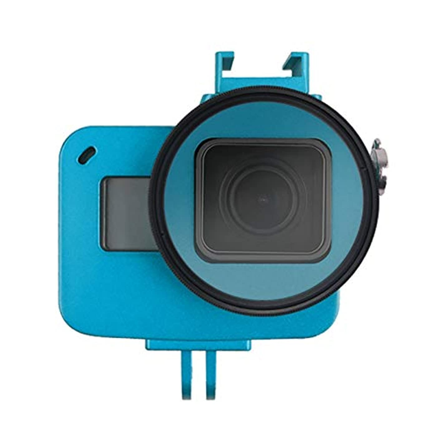 for DJI Gopro Action Camera, Housing Shell CNC Aluminum Alloy Protective Cage with Insurance Frame & 52mm UV Lens for GoPro HERO7 Black /6/5 (Black) (Color : Blue)