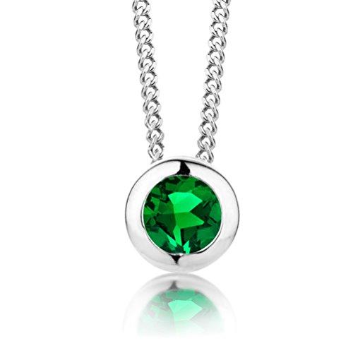ByJoy Damen-Kette Mit Anhänger 925 Sterling- Silber Rundschliff Grün Smaragd 45cm, silber(Smaragdgrün)