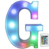 Pooqla Colorful LED Marquee Letter Lights with Remote – Light Up Marquee Signs – Party Bar Letters with Lights Decorations for The Home - Multicolor G