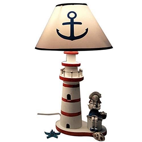 Lámpara de mesa de faro de estilo mediterráneo, de luz nocturna con atenuación,lámpara de placa de resina de estilo náutico,luz de noche para habitación de niños interior,Little girl table lamp