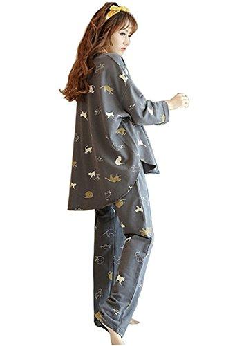 レディース パジャマ 綿 100% 上下セット ルームウェア 部屋着 猫柄 長袖 コットン かわいい エレガント ソフト シンプルパジャマ (L.)