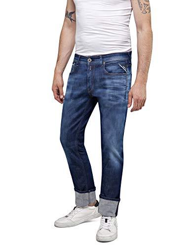 Replay Herren Grover Straight Jeans, Blau (Dark Blue 7), 33W / 34L