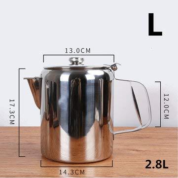 MASUNN S/M/L Zilver RVS Catering Café Theepot Tuit Ontwerp Melk Thee Koffie Water Koken Ketel Met Cover, Groot, 1
