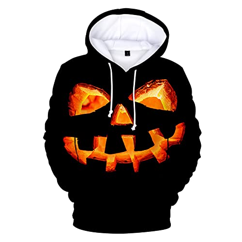WBYFDC Halloween 3D Impresión Digital De Manga Larga Suelta para Hombre Sudaderas con Capucha Hip Hop Sudadera con Capucha Hombres Mujeres Imprimir Harajuku Streetwear Jerseys