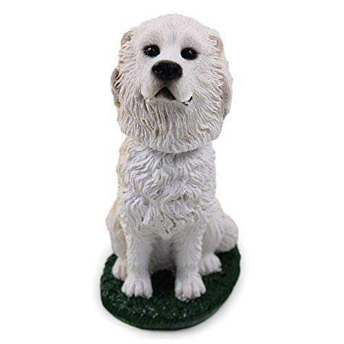 Animal Den Great Pyrenees Dog Bobblehead Figure Toy for Car Dash Desk Fun Toy Accessory