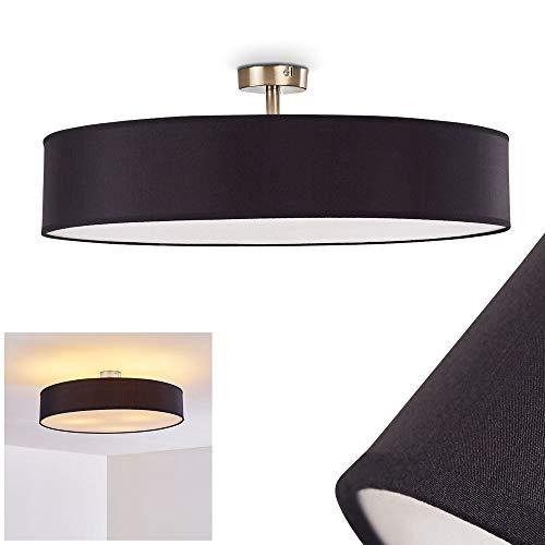 Deckenleuchte Foggia, runde Deckenlampe mit Lampenschirm aus Stoff in Schwarz/Weiß, Ø 60 cm, LED-fähig, 3 x E27-Fassung, 40 Watt, Retro-Design